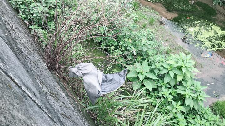 基隆市邵姓男子騎機車搶奪一名婦人皮包,作案後將作案衣物、皮包丟棄。記者游明煌/翻攝