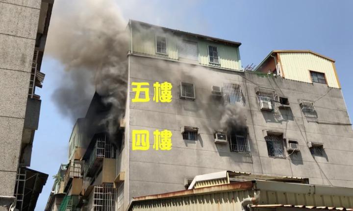 高市苓雅區今年3月下旬發生疑因煮食不慎住宅火警,起火點在4 樓,5樓住戶自救成功脫險,當時濃煙竄出。圖/翻攝影片