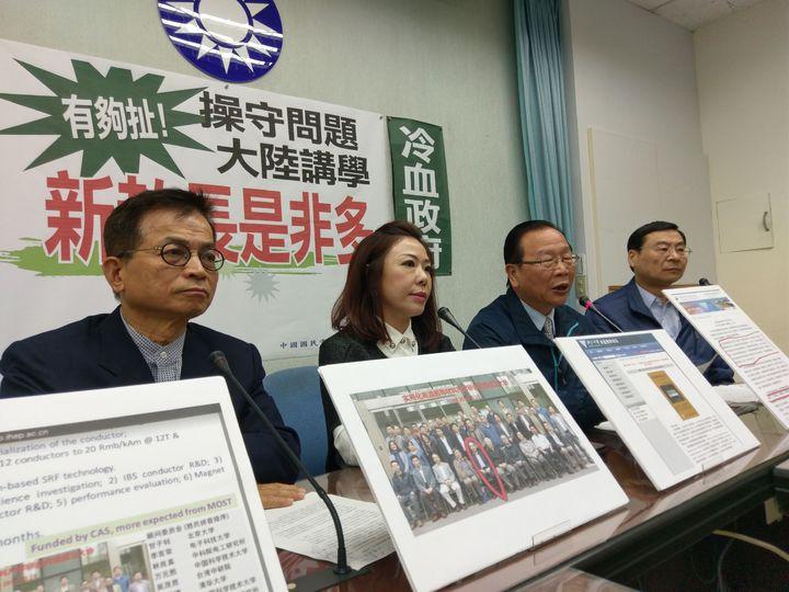 國民黨團上午舉行「操守問題、大陸講學 新教長是非多」記者會。記者劉宛琳/攝影