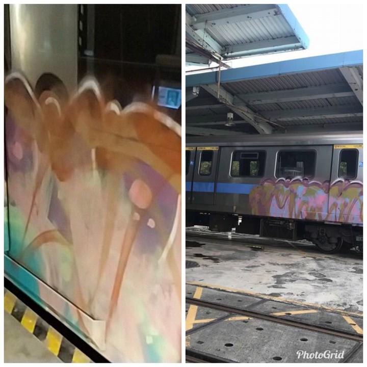 警方比對北捷北投機廠的塗鴉「作品」(右),左為高捷大寮機廠塗鴉,懷疑是同一群人所為,但沒有直接證據。記者劉星君/翻攝