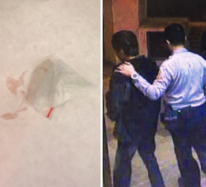 吳姓男子繳罰金時掉出毒品,竟慌張吞下肚,警方將人帶往醫院照胃鏡,取記沾有黏膜液體的海洛因夾鏈袋。記者蕭雅娟/翻攝