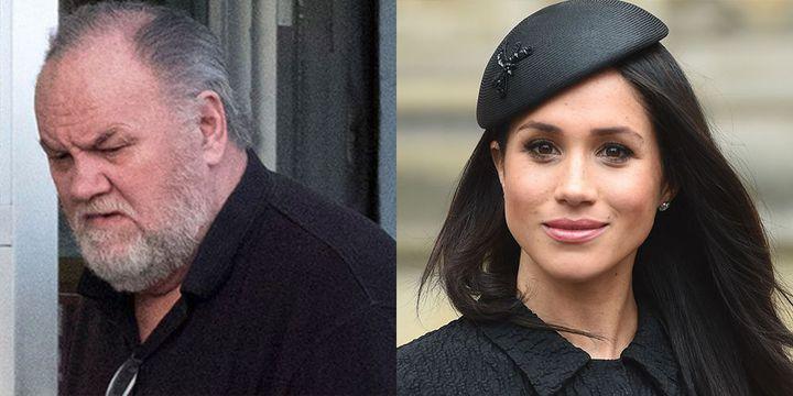 梅根馬克爾(右)的父親湯瑪斯馬克爾(左),因身陷假照風波恐缺席王室婚禮。翻攝goodhousekeeping.com
