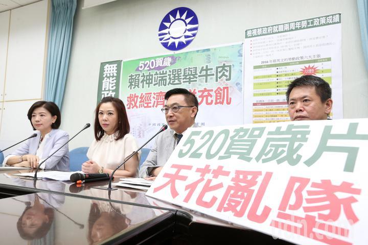 國民黨立院黨團上午舉行記者會,抨擊行政院提出的多項拼經濟政策。記者胡經周/攝影