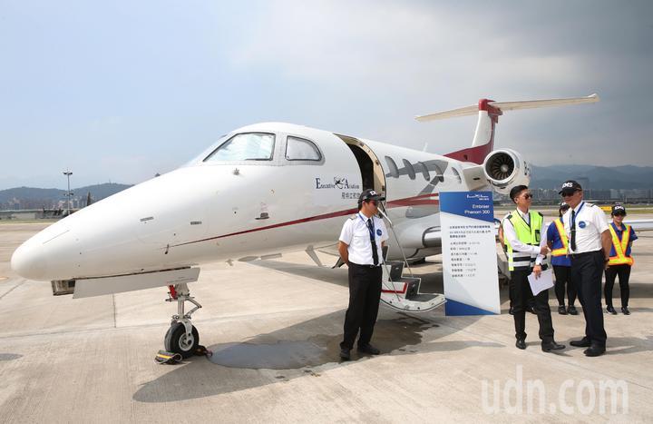 飛特立航空台灣首架醫療專機Phenom 300,今年六月起將正式投入台灣、金門醫療專機後送救援服務。記者林俊良/攝影