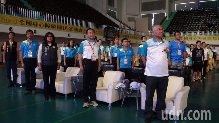 嘉義市副市長張惠博等人出席全障運閉幕典禮。記者王慧瑛/攝影