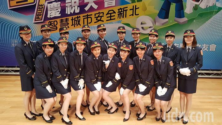 新北市警察節慶祝大會,各分局動員18位贊禮警花亮麗登場。記者袁志豪/攝影