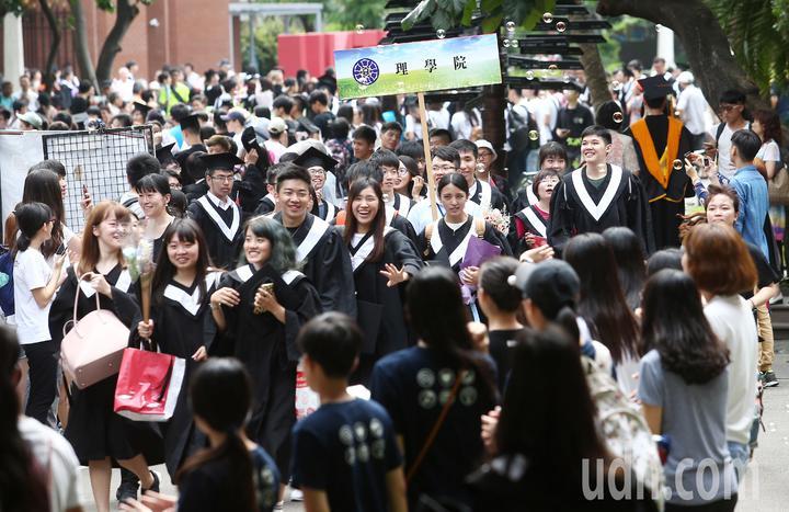 台灣師範大學今天舉行畢業典禮,今年博碩士及大學部畢業生將近4000人,校長與各學院院長在畢業典禮前帶領畢業生們回首校園,進行最後的校園巡禮,希望讓學生留下一生中最難忘的回憶。記者杜建重/攝影
