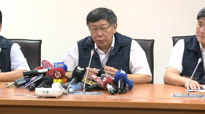 台北市長柯文哲上午8時到災害應變中心主持工作會報。記者陳煜彬/攝影