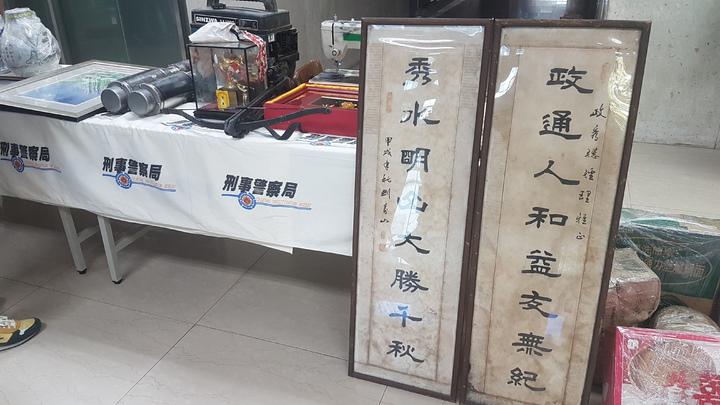 陳姓男子組成竊盜集團偷遍大台北的住宅及工地,贓物中出現高齡書法家劉壽山的作品。記者李奕昕/攝影
