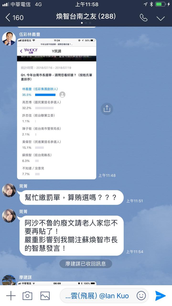 林義豐在前台南縣長蘇煥智台南之友的Line群組PO,他自己看好度35.6%,遭到打臉。記者吳政修/翻攝