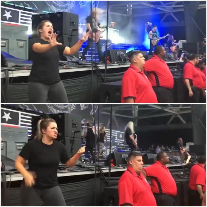 手語老師克羅斯在重金屬音樂會上賣力詮釋歌詞內容,影片po上網吸引近百萬人次觀看。提供 Caters TV