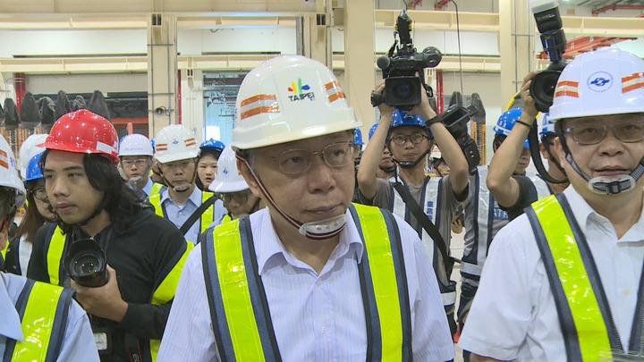 台北市長柯文哲10日視察台北捷運環狀線工程。記者王彥鈞/攝影