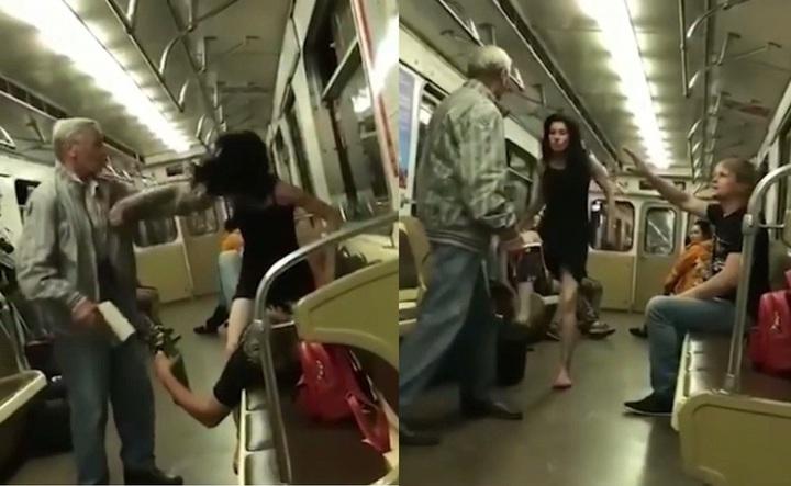 俄羅斯一對酒醉情侶,日前在地鐵上演活春宮,但遭同車阿伯阻止後,女 子居然動手打人,甚至還抬腿踢人,誇張行徑全都被錄了下來。圖片擷取Mirror 影片