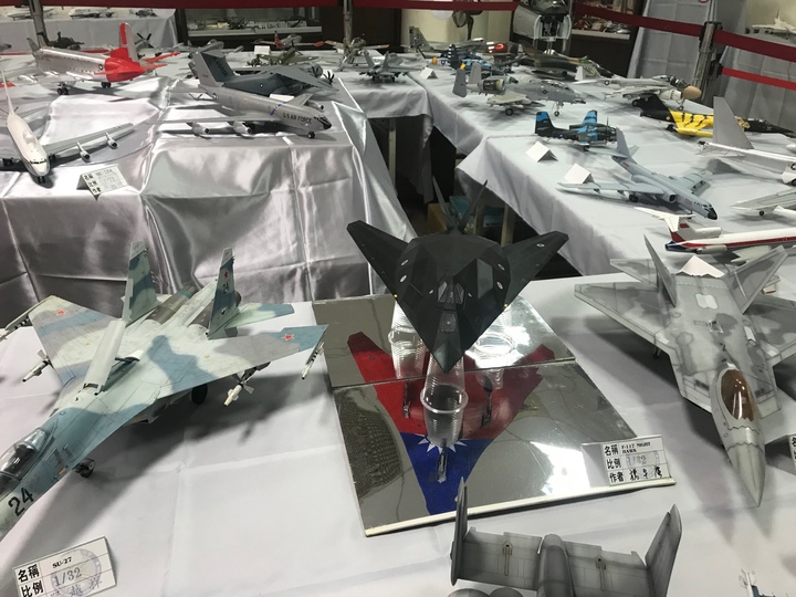 美國著名的F117隱型戰鬥機怎麼底下會有中華民國的國旗圖案?原來是作者天馬行空的創意,這也是創作模型飛機的迷人之處。記者林宛諭/攝影