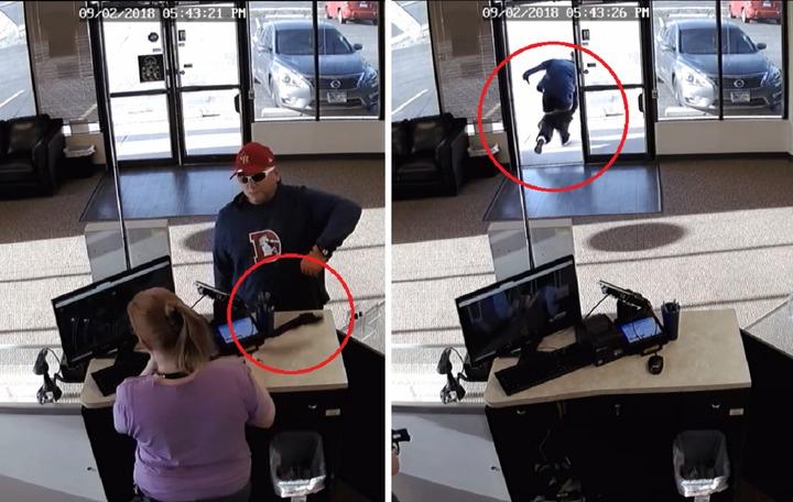 美國科羅拉多州,2日有名男子企圖持槍行搶一間電子菸商家,結果自己手滑掉槍,行搶不成反落荒而逃,笑掉網友大牙。圖片擷取Facebook/Aurora Police Department影片