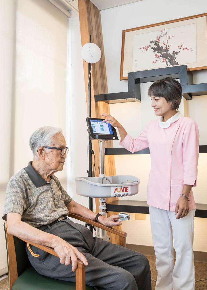 友達頤康生理量測方案,可透過行動護理機執行照護計畫,建立個人照護紀錄。友達/提供