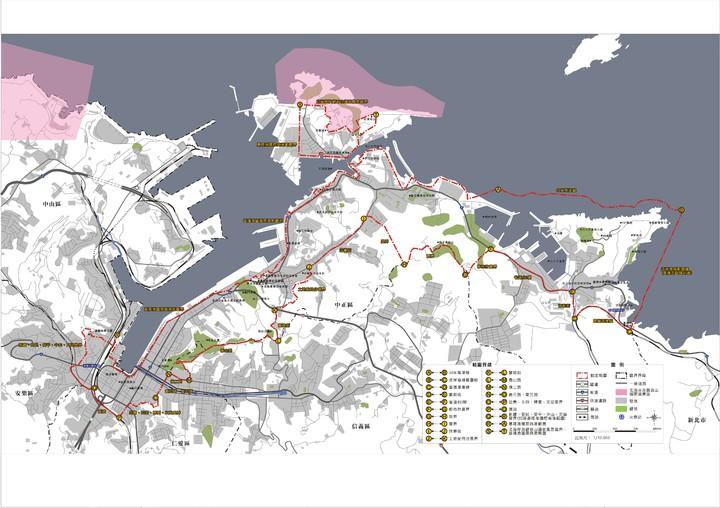 基隆市可以申請民宿的範圍,從基隆地標、包括基隆港西岸的KEELUNG地標、海洋廣場周邊、中正公園、潮境公園一直到新北市瑞芳區交界。圖/基隆市政府提供