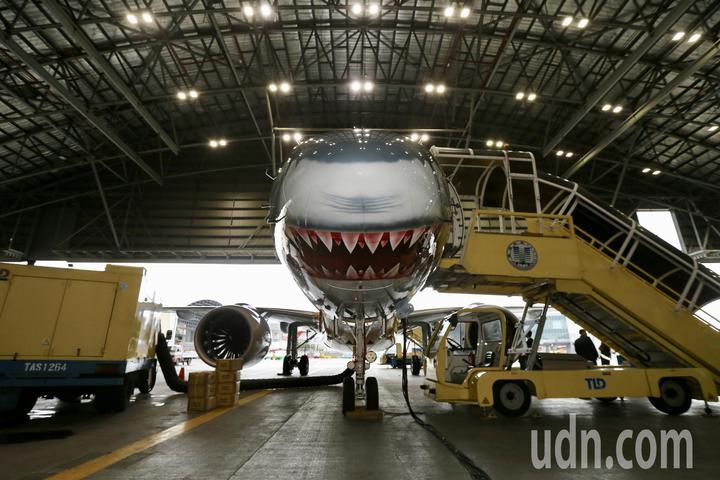 巴西EMBRAER E190-E2彩繪鯊魚機。記者許正宏/攝影