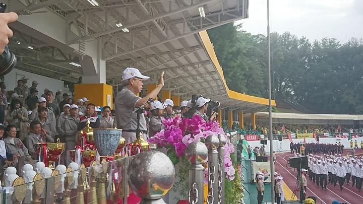 台塑集團運動會王文淵親自主持。 記者/黃淑惠攝影