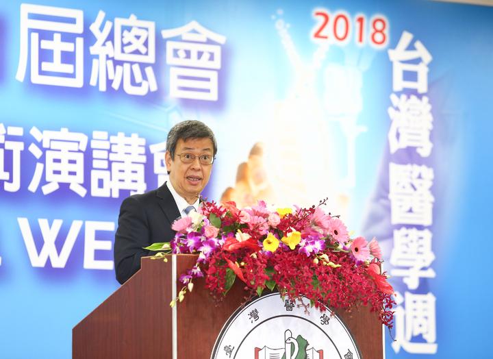 副總統陳建仁致詞說,最近常接見新南向國家的外賓,他們想跟台灣學的就是醫療保健跟臨床研究及實驗,很希望未來我們的臨床實驗能夠把他們國家的醫學中心包括在裡面。記者王騰毅/攝影