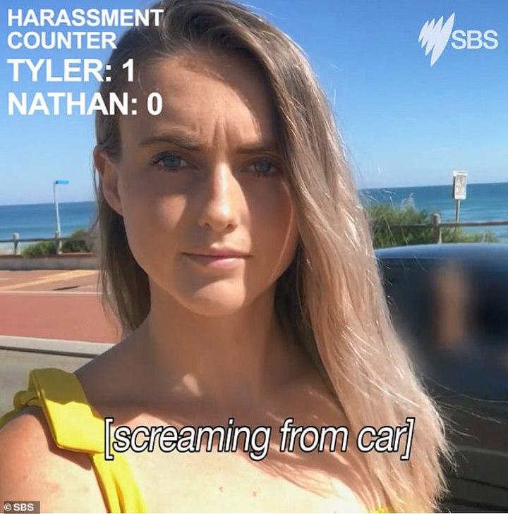 澳洲電視台街頭實測,找來年輕男女站在路邊,假裝自拍,結果女性在90秒遭到8次騷擾,但男性卻無人理會,凸顯澳洲近年對女性騷擾猖獗的問題。SBS/Dailymail