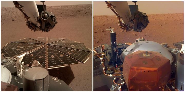 NASA在7日釋出成功降落火星的「洞察號」探測器錄下的火星風聲與傳回的影像,可見安裝於機械手臂的儀器部署相機(Instrument Deployment Camera,IDC)分別拍下2.2公尺寬的太陽能板與探測器甲板。法新社/美聯社