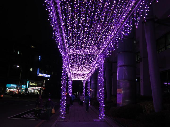因應耶誕節慶來臨,桃園市政府在府前廣場架起10公尺高耶誕樹,並在市府旁人行道打造27公尺長燈廊,相當浪漫。記者張裕珍/攝影