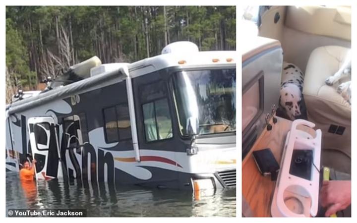 美國一名職業釣手的露營車倒車入湖,重要機電設備進水恐徹底報廢。調皮的大麥町狗似乎知道自己闖禍了,蜷縮在副駕駛座下方不敢出來。圖片擷取YouTube/Eric Jackson