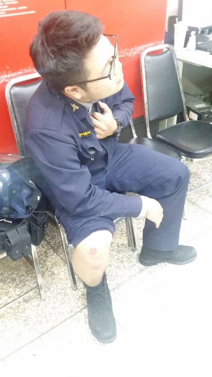 台中警察王顥宇追毒犯受傷。記者游振昇/翻攝