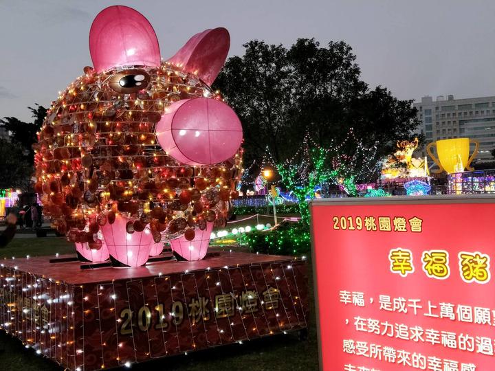 2019桃園燈會12日開幕,桃園三民燈區有多個生肖豬花燈夜間點燈(見圖)十分討喜,歡迎民眾賞燈找豬花燈。圖/觀旅局提供