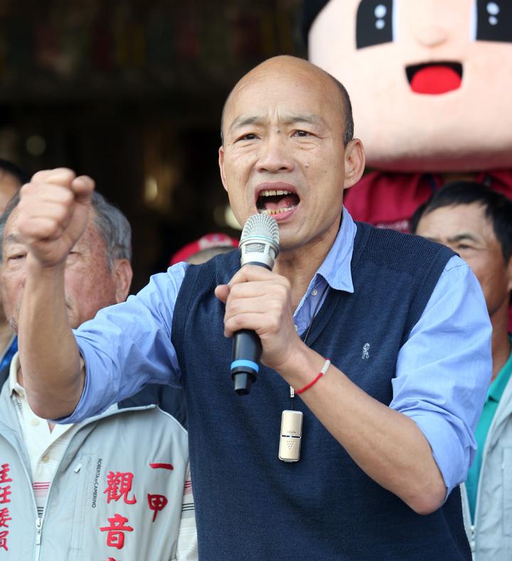 韓國瑜告訴鄉親,他要高雄市政府同仁不能妨礙高雄發展,且要帶頭衝。記者劉學聖/攝影