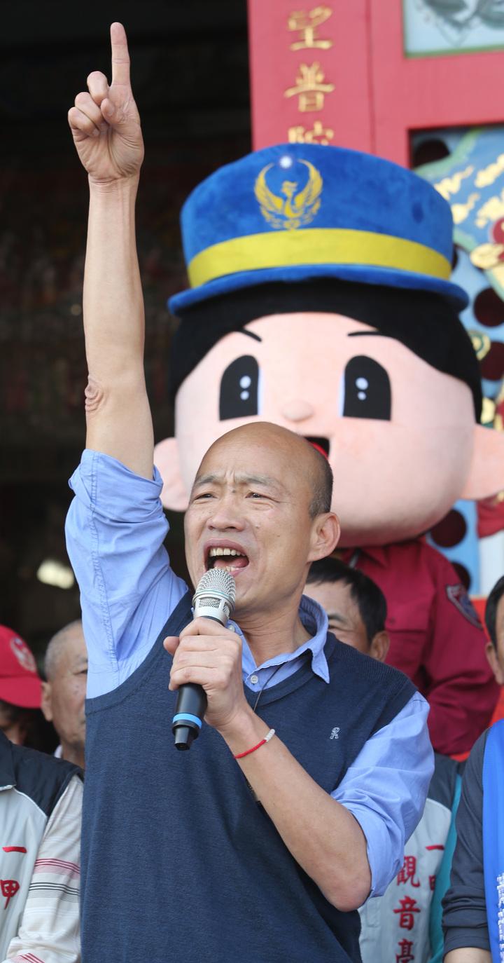 韓國瑜信心滿滿地說,高雄2019年豬年,一定會大衝刺,發大財。記者劉學聖/攝影