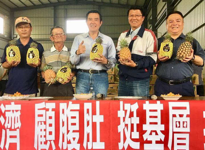 謝龍介(右二)今天和前總統馬英九一起出席鳳梨銷陸裝櫃記者會。圖/謝龍介服務處提供