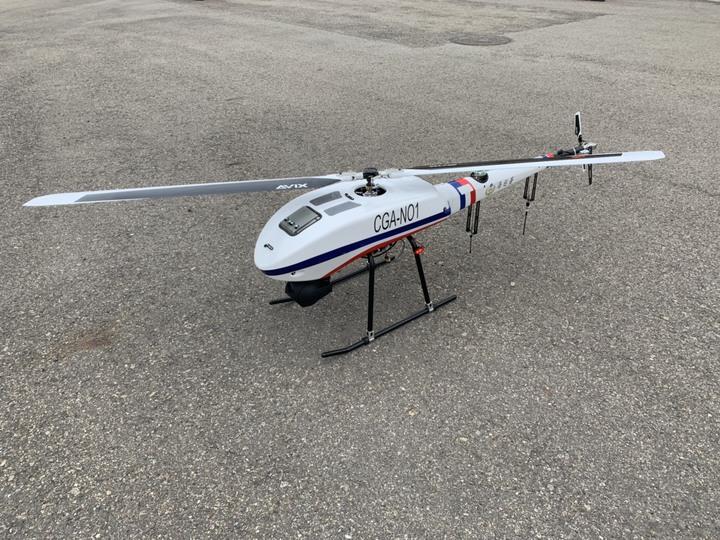 海巡署中部分署新進無人機,可巡海岸,防止豬瘟侵入。圖/海巡署提供