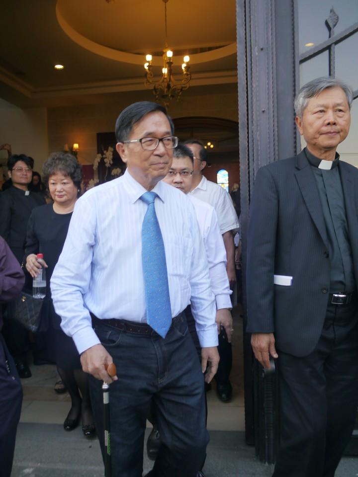 前總統陳水扁也出席高俊明牧師追思會。記者徐白櫻/攝影