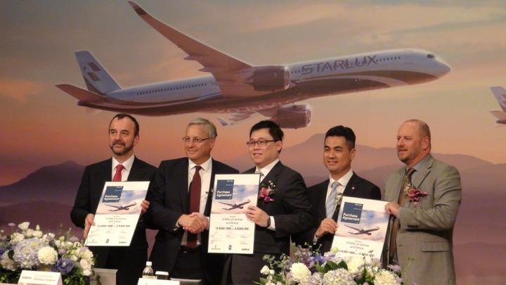 星宇航空與Airbus A350 XWB購機簽約儀式於今(19)日舉行。 記者楊文琪/攝影