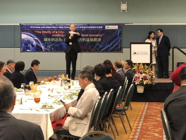 高雄市長韓國瑜訪美行程接近尾聲,美西時間16日中午參加全球玉山科技協會矽谷論壇。記者王慧瑛/攝影