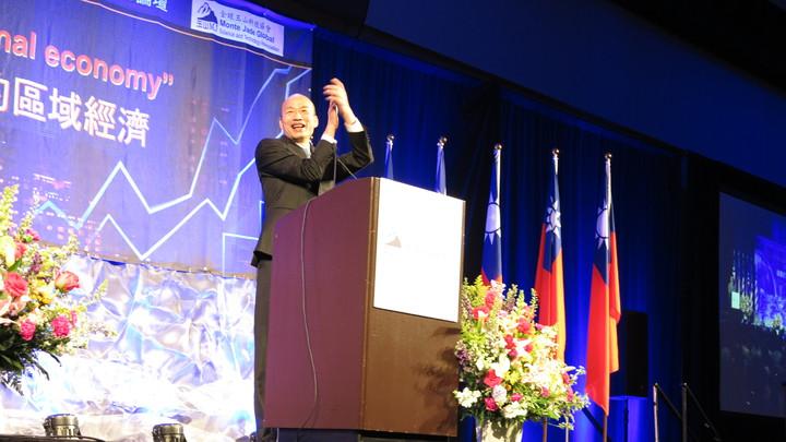 高雄市長韓國瑜訪美行壓軸是在舊金山一場3000人演講,華僑熱情捧場。記者王慧瑛/攝影