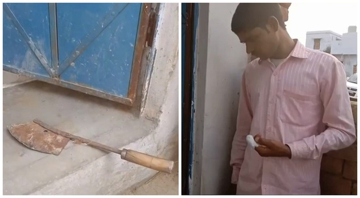 印度大選18日舉行第二階段投票,但社群媒體流傳一段影像,一名男子自稱他不小心投錯黨,回家竟憤而拿刀把塗上防重複投票墨水的手指給剁了。畫面來源:Newsflare/美聯