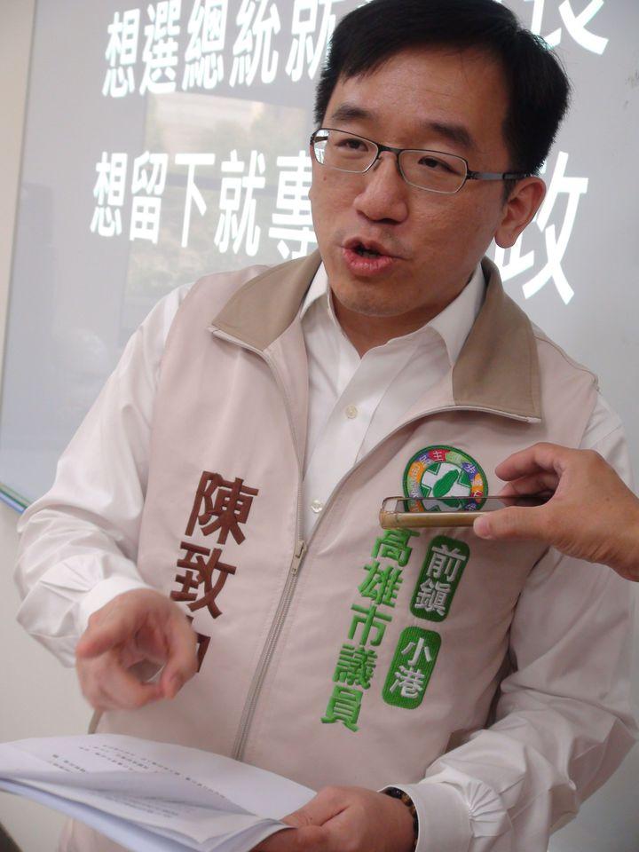 民進黨市議員陳致中指出,韓國瑜只是不參與國民黨現行制度的黨內初選,並非放棄參與2020總統大選。記者謝梅芬/攝影