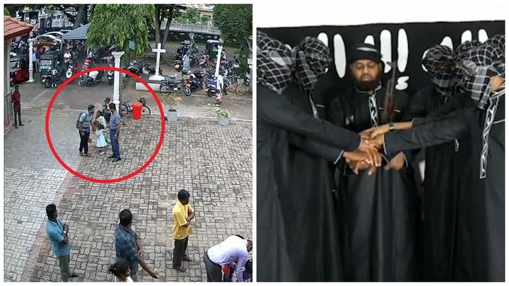 斯里蘭卡日前發生321人死亡與超過500人受傷的復活節連環爆炸事件,左圖為當局21日釋出監視器畫面,一名自殺炸彈客(紅圈內左一)到教堂發動襲擊前還摸一名小女孩影像。右圖為IS在社群媒體分享的8名嫌犯宣誓效忠影像,唯一未蒙面者據指為當地激進團體「國家一神教團」領導人札哈蘭。路透