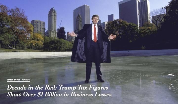 美國《紐約時報》7日報導,稱取得美國總統川普1985年至1994年的國稅局正式稅務文件,顯示川普生意在此期間大虧11.7億美元(約364.8億新台幣),與川普一直對外塑造的事業有成形象,顯然有很大的差別。圖片翻攝《紐約時報》