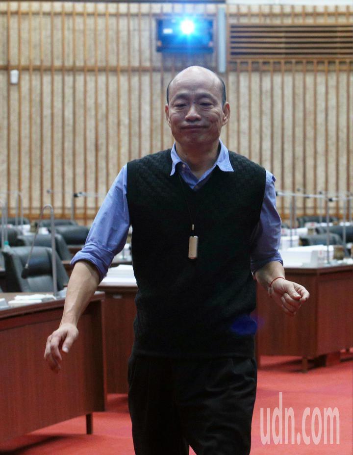 高雄市長韓國瑜表示這兩天沒有安排與台北市長柯文哲見面。記者劉學聖/攝影