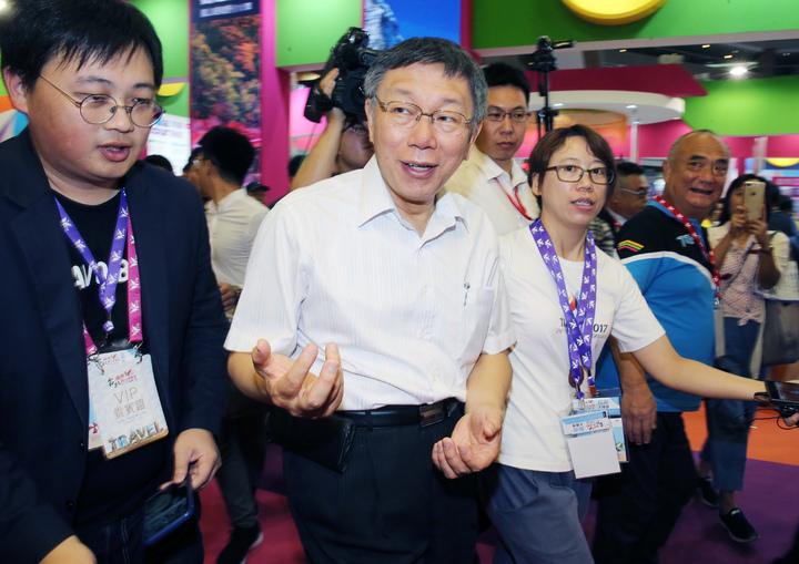 台北市長柯文哲上午出席2019台北國際觀光博覽會開幕儀式。記者徐兆玄/攝影