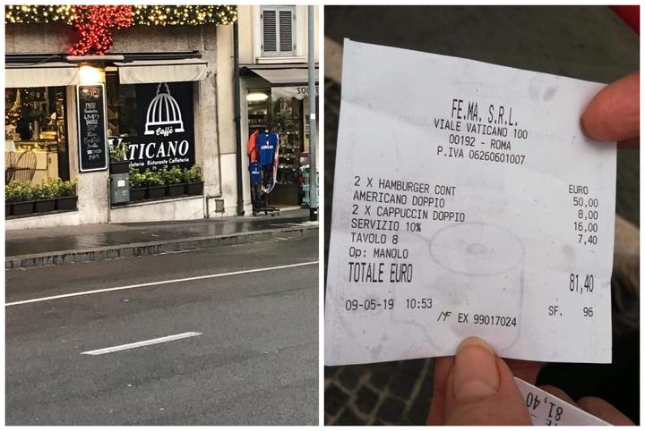 義大利近年屢傳餐廳開高價坑殺觀光客,一名外國網友日前也在網路貼出到羅馬「Caffe Vaticano」吃飯的收據,顯示3杯咖啡、2個漢堡跟1成服務費,居然就被要求支付81.4歐元(折合約新台幣2852.34元)。畫面翻攝:TripAdvisor & Facebook/Emma C Cheppy