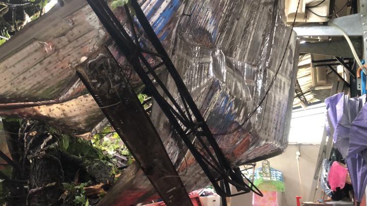 南投縣埔里鎮蜈蚣里約200歲楓香巨木疑難敵豪雨,昨晚突倒伏扯斷2根電線桿,壓損8戶民宅和3輛汽機車。記者賴香珊/攝影