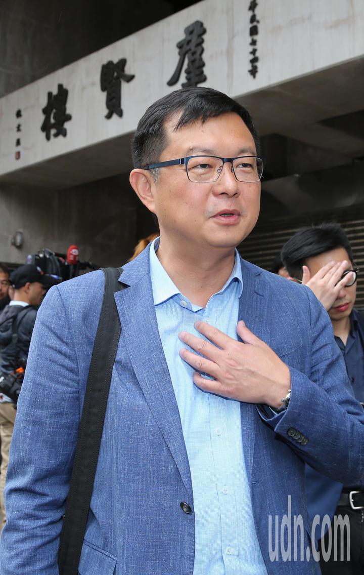 賴清德行動辦公室發言人李退之上午在立法院外舉行記者會。記者許正宏/攝影