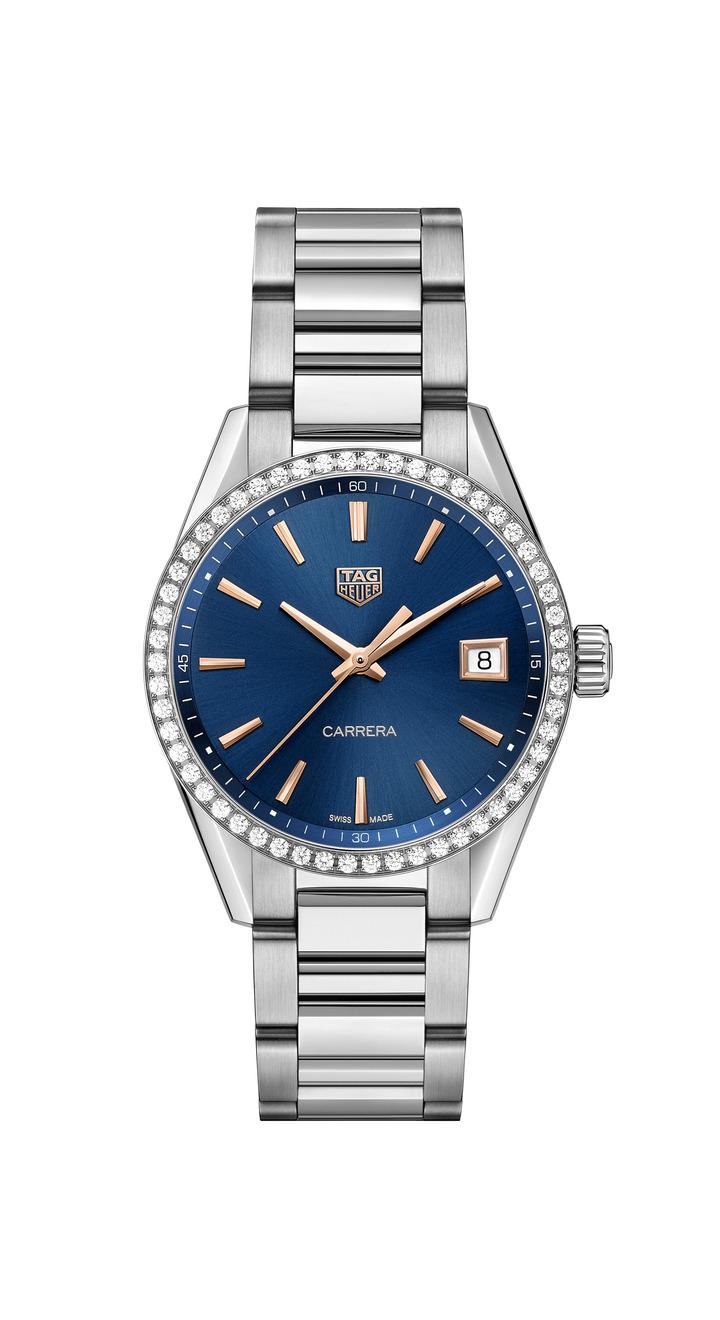 泰格豪雅Carrera Lady腕表,不鏽鋼表殼、鑲鑽表圈,搭載石英機芯,約13萬2,900元。圖/TAG Heuer提供
