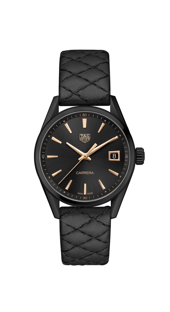 泰格豪雅Carrera Lady腕表,黑色PVD不鏽鋼表殼,搭載石英機芯,約77,400元。圖/TAG Heuer提供