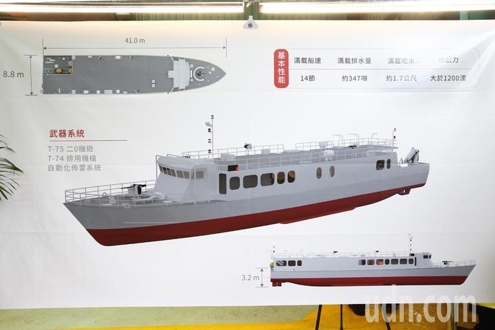 「海軍高效能艦艇後續艦首艦暨快速布雷艇首艇建造開工典禮」上午在蘇澳龍德造船舉行,預計4艘布雷艇110年完工。記者蘇健忠/翻攝